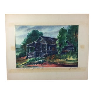 "L.J. Miller ""Abandoned House, Tyler Hill PA"" Watercolor Painting"
