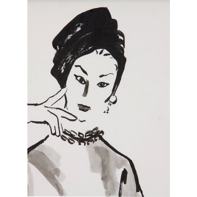 Mid-Century Fashion Ink Drawing - Image 4 of 5