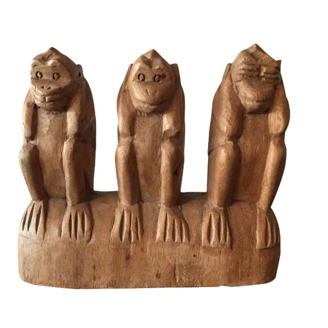 No See, Hear, Speak Evil Monkeys Carving - Image 1 of 7