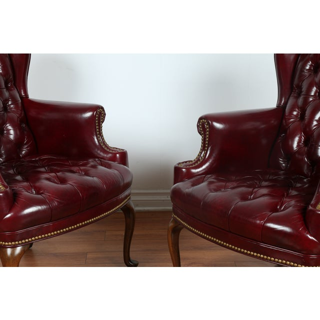 Schaffer Bros Burgundy Leather Chairs - A Pair - Image 9 of 11