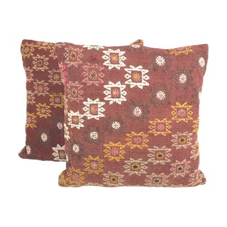 Turkish Geometric Kilim Throw Pillows With Feather Inserts - A Pair