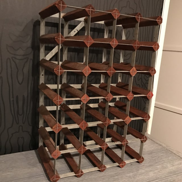 Mid-Century Wood and Metal Wine Rack - Image 2 of 8