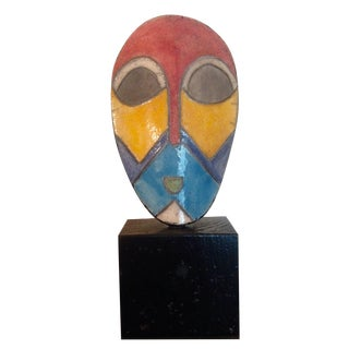 African Enamel Mask On Stand