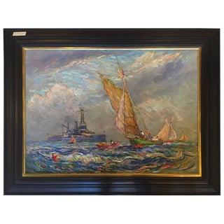 """1928 Impressionist Oil on Canvas """"U.S.S. Utah"""""""