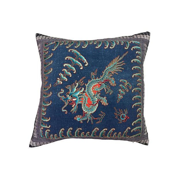 Chinese Opera Embroidered Dragon Pillow - Image 1 of 7
