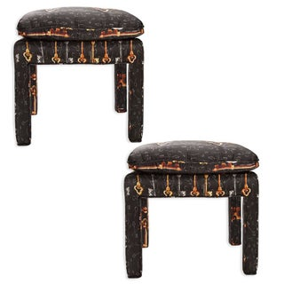 Billy Baldwin Stools in Dolce and Gabbana Silk - Pair