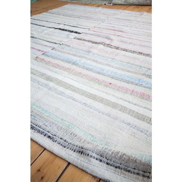 "Vintage Cotton Area Rag Rug - 7'10"" x 8'7"" - Image 8 of 9"