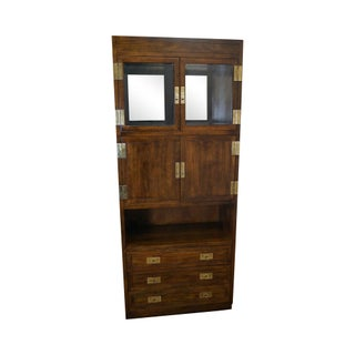Henredon Scene One Campaign Style Liquor Curio Cabinet with Drawers