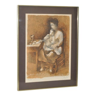 Circa 1970 Manolo Ruiz Pipo Pencil Signed Lithograph