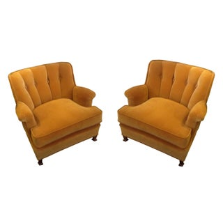 Gold Velvet Tub Chairs - A Pair