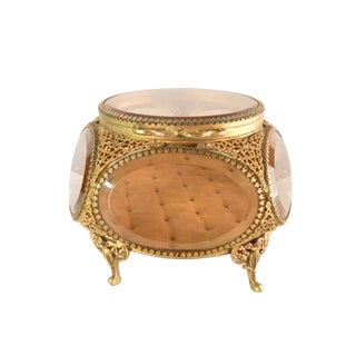 Brass Filigree Ormolu Jewelry Casket
