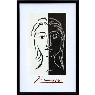 """Pablo Picasso """"Portrait en Deux Parties Noire Et Blanche"""" Lithograph"""