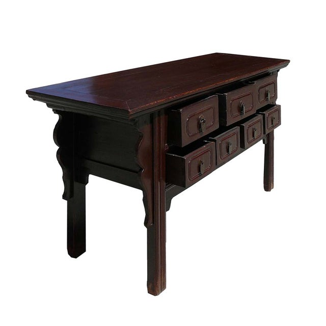 Chinese rustic brown seven drawer coffee table chairish for Rustic dark brown coffee table