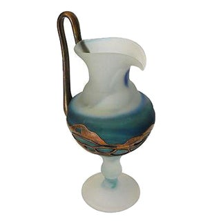 Hand-Blown Pitcher with Copper Overlay