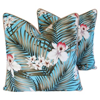 Custom Tropical Palm & Orchid Pillows - A Pair