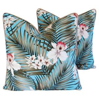 Custom Tropical Palm & Orchid Pillows - A Pair