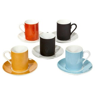 Multi-Colored Demitasse Cup & Saucers - Set of 10