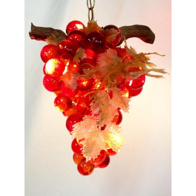 Outdoor Hanging Grape Lights: Vintage Lucite Grape Cluster Pendant Light