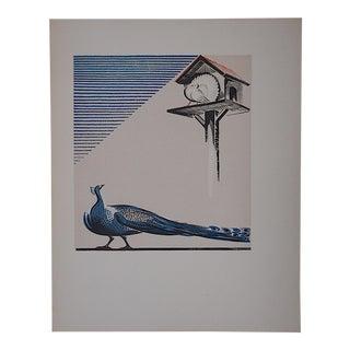 Vintage Ltd. Ed Woodcuts by J. Kefalleno-Greece-Peacock