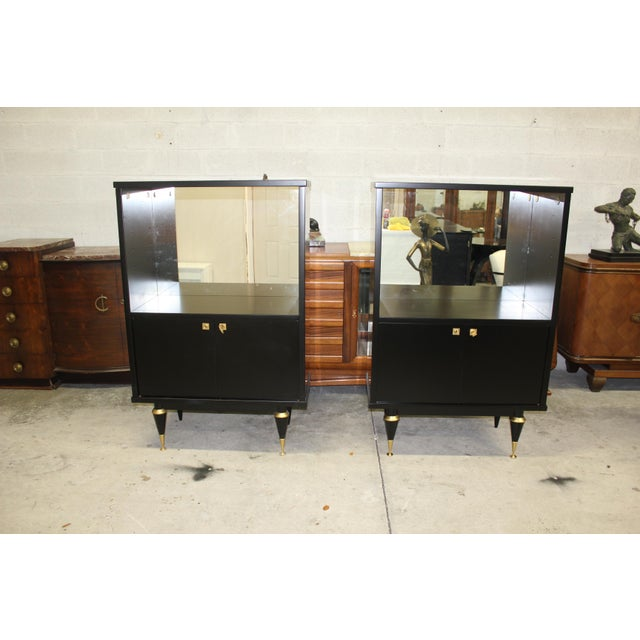 French Art Deco Sideboard Display Cabinets - A Pair Circa 1940s - Image 6 of 12
