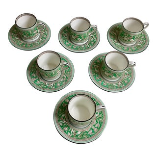 Wedgwood Green Florentine Demitasse Cups & Saucers - S/6