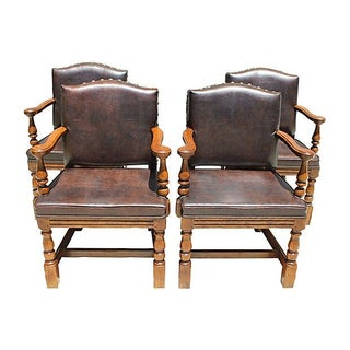 Vintage Spanish-Style Leather Chairs - Set of 4
