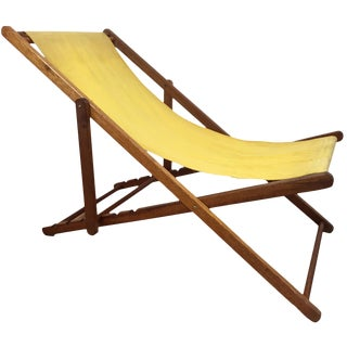 Teak and Canvas Adjustable Sling Chair