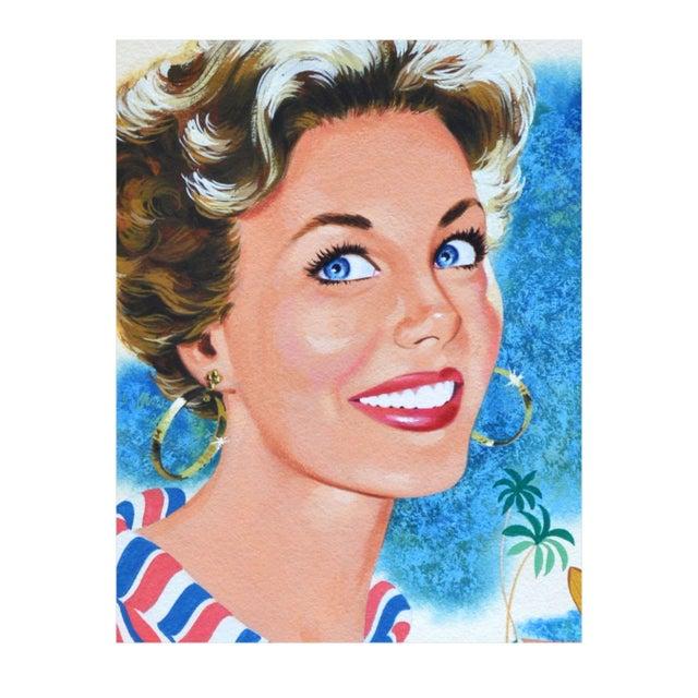 Hap Frazer Smiling Lady Gouache Illustration - Image 3 of 4