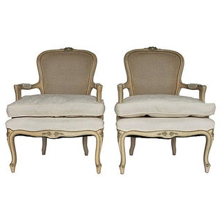 Caned Armchairs with Carved Crests - Pair