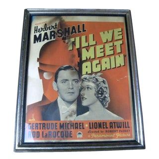"Vintage Original Movie Poster ""Till We Meet Again"" Circa 1936"