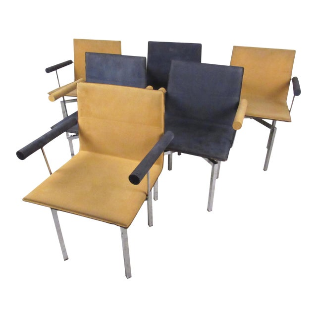 Modern memphis style swivel dining chairs set of 6 for Swivel dining chairs modern