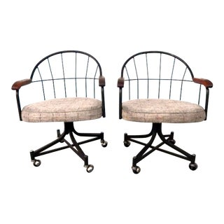 Mid Century Tweed Wire Back Swivel Chairs - a Pair