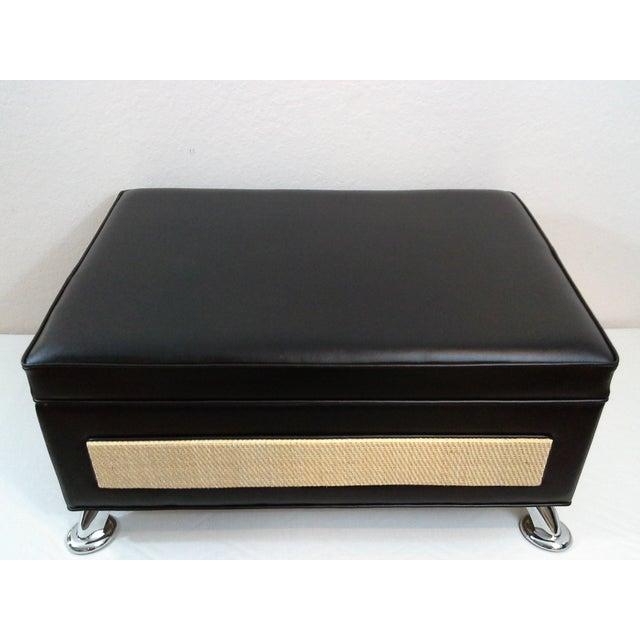 Selina Italian Black Leather & Chrome Ottoman - Image 3 of 6