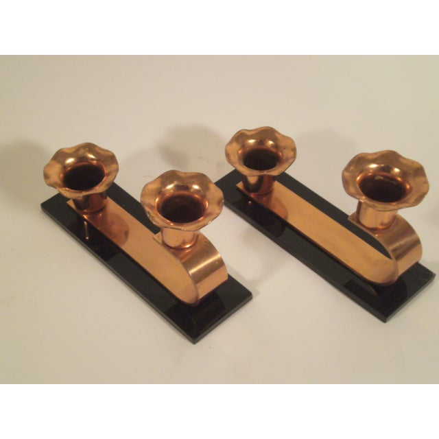Vintage Copper & Plexiglass Candle Holders - Pair - Image 3 of 8
