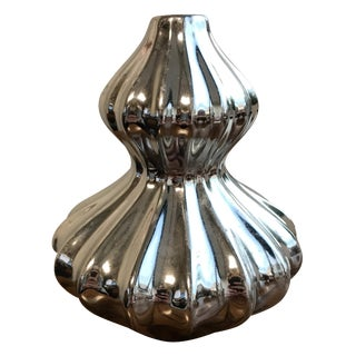 Silver Ribbed Vase