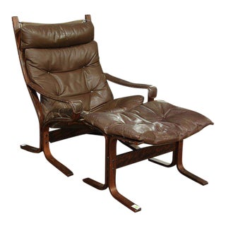 Westnofa Brown Leather Siesta Lounge Chair with Matching Ottoman