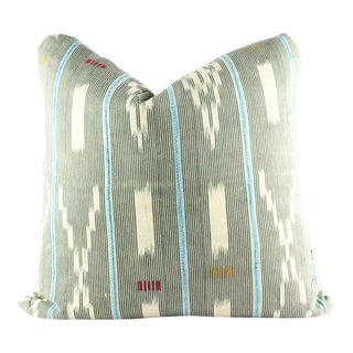 """Lucky Charm"" Baby Blue & Yellow African Mudcloth Pillow"