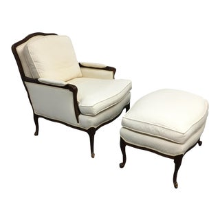 French Style Bergere Chair & Ottoman