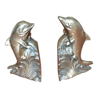 Hollywood Regency Brass Dolphin Bookends - A Pair