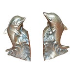 Image of Hollywood Regency Brass Dolphin Bookends - A Pair