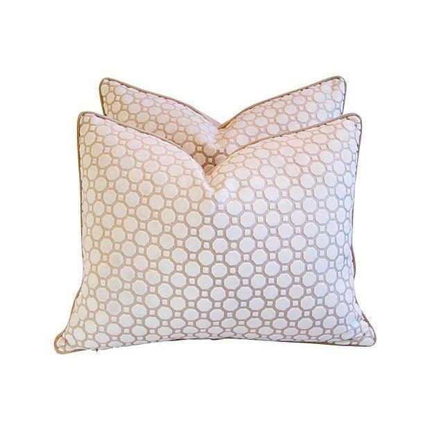 White Velvet Geometric Pillows- A Pair - Image 3 of 7