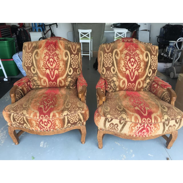 Knuckle Bergere Chairs W/Large Nail Heads - A Pair - Image 2 of 4