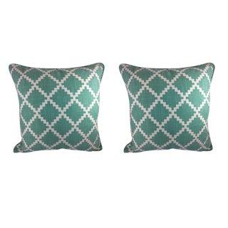 """LuLu Dk Designs by Duralee """"Gaston"""" in Aqua Pillows - a Pair"""