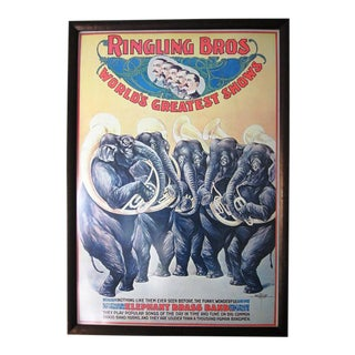 Antique Ringling Bros Elephant Brass Band Advertising Poster