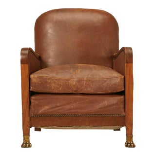 Circa 1940's French Leather Club Chair