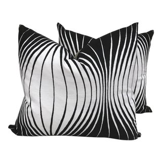 Mod Black & White Abstract Pillows - A Pair
