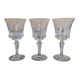 Crystal Etched Wine Glasses - Set of 3