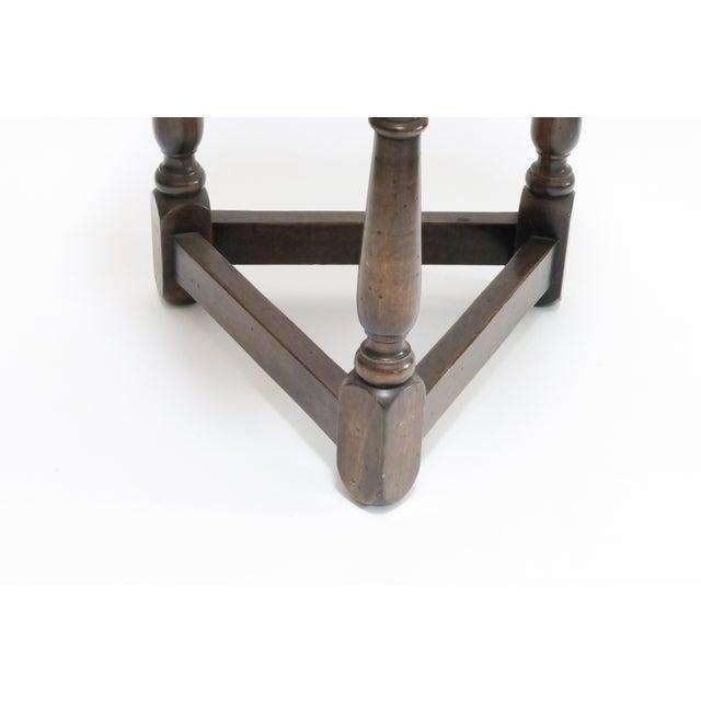 Traditional Vintage Wood Trefoil Side Table - Image 7 of 7