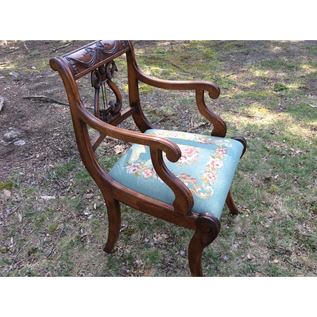 Image of Regency Floral Needlepoint Harp Arm Chair
