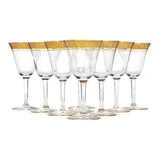 Art Deco Floral Gold Rim Wine Stems, Set of 9